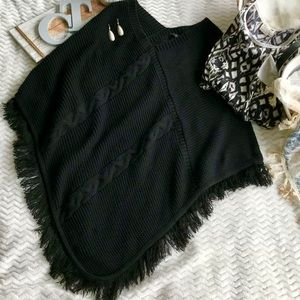 Black Cable Sweater Shawl With Fringe